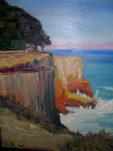 painting of sea cliff