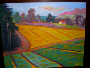 painting of farm fields