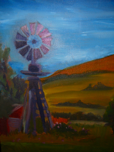 painting of windmill